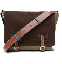 Loewe Leather Trimmed Suede And Canvas Messenger Bag Brown