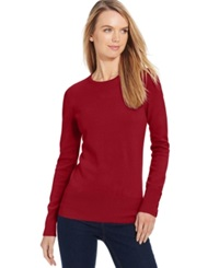 Jm Collection Petite Crew Neck Button Sleeve Sweater Only At Macy's New Red Amore