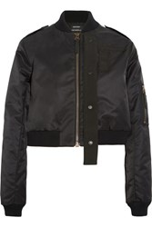 Anthony Vaccarello Canvas Trimmed Shell Bomber Jacket Black