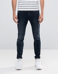 Selected Homme Fabios Skinny Fit Jeans In Dark Wash Dark Blue Denim