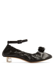 Simone Rocha Perspex Tooth Heel Leather Ballet Pumps Black