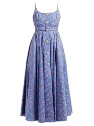 Alessandra Rich Tropical Print Crystal Embellished Cotton Dress Blue Multi