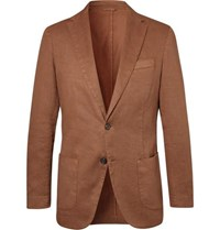 Altea Tobacco Unstructured Garment Dyed Stretch Linen And Cotton Blend Drill Blazer Tan