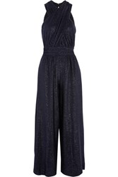 Rachel Zoe Shane Metallic Jersey Jumpsuit Midnight Blue