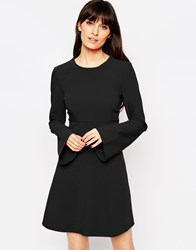 Asos 60'S Babydoll Dress With Fluted Sleeves Black