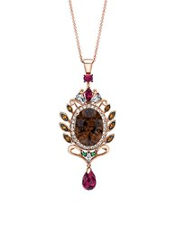 Le Vian 14Kt. Strawberry Gold Necklace With Smoky Quartz And Multi Stone Pendant Brown
