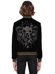 Saint Laurent Teddy Embellished Velvet Bomber Jacket Black