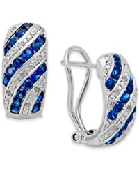 Macy's Sapphire 1 Ct. T.W. And Diamond Accent Omega Earrings In Sterling Silver