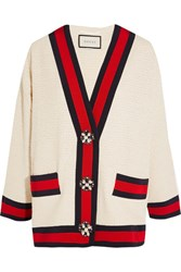Gucci Embellished Cotton Blend Boucle Tweed Jacket Ivory