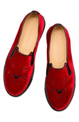 Charlotte Olympia Women's 'Cool Cats' Slip On Sneaker Red Velvet
