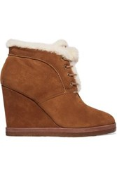 Michael Kors Chadwick Shearling Trimmed Suede Wedge Boots Tan