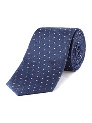 T.M.Lewin Patterned Slim Tie Navy And Pink