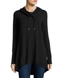 Neiman Marcus Long Hooded Cowl Tunic Black