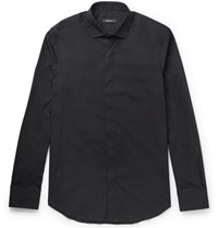 Berluti Slim Fit Stretch Cotton Blend Poplin Shirt Black