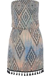 Tart Collections Anita Strapless Tasseled Printed Stretch Modal Jersey Mini Dress Multicolor