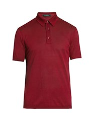 Ermenegildo Zegna Short Sleeved Cotton Polo Shirt Red