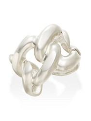 Kenneth Jay Lane Chain Link Cuff Bracelet Satin Silver
