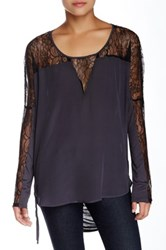 Gold Hawk Colorblock Lace Wedge Silk Blouse Gray