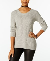Hippie Rose Juniors' Cable Knit Pullover Sweater Light Heather Grey