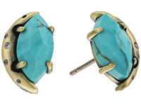 Kendra Scott Marie Stud Earrings Antique Brass Variegated Turquoise Magnesite White Cz Earring Blue