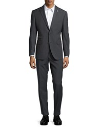 Ted Baker Textured Wool Pants Suit Grey