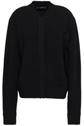Valentino Woman Leather Trimmed Stretch Knit Bomber Jacket Black