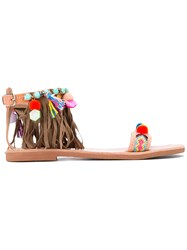 Mabu 'Cressida' Fringed Sandals Women Leather Suede Rubber 36 Nude Neutrals