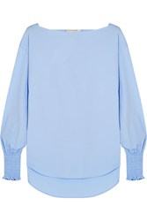 Cedric Charlier Smocked Cotton Blend Poplin Top Sky Blue