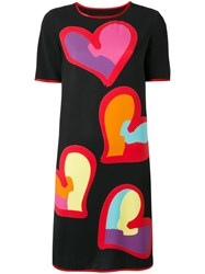 Boutique Moschino Heart Print T Shirt Dress Black