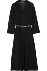 Eres Veronique Leroy Lee Belted Cotton Gauze Midi Dress Black
