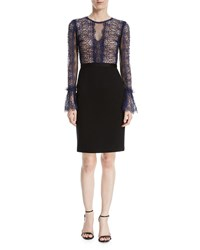 Catherine Deane Kegan Lace And Ponte Long Sleeve Dress Midnight Blue