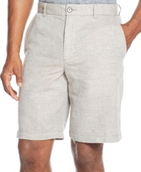 Tasso Elba Linen Blend Herringbone Shorts Roasted Acorn