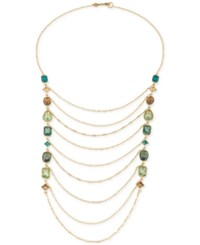 Carolee Gold Tone Crystal Draped Chain Statement Necklace