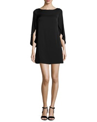 Milly Butterfly Sleeve Stretch Silk Dress Black
