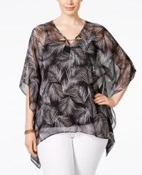 Michael Michael Kors Plus Size Chain Trim Chiffon Poncho Top Black Mangonia