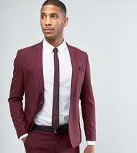 Only And Sons Skinny Suit Jacket Red