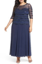 Pisarro Nights Plus Size Women's Embellished Chiffon Long Dress