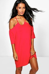 Boohoo Strappy Front Off Shoulder Swing Dress Red