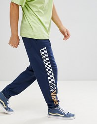Vans Joggers With Checkerboard Leg In Navy Vn0a3hkolkz1