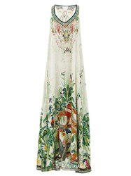 Camilla Daintree Dreaming Forest Print Silk Dress White Print