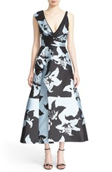 J. Mendel Women's Floral Jacquard Draped Bodice Tea Length Dress
