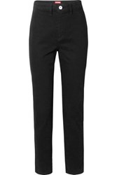 Staud Blonde Two Tone High Rise Slim Leg Jeans Black