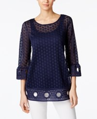 Alfani Crochet Trim Lace Illusion Top Only At Macy's Navy Nautical