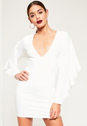 Missguided White Crepe Frill Back Detail Bodycon Dress
