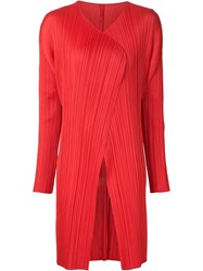 Pleats Please By Issey Miyake Pleated Open Front Coat Red