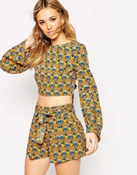 Asos 70S Geo Floral Kimono Sleeve Crop Top With Open Back And Tie Multi
