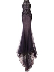 Marchesa Embellished Fitted Gown Women Silk Nylon 2 Pink Purple