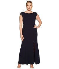 Adrianna Papell Plus Size Cap Sleeve Knit Mermaid Gown W Beaded Shoulder And Waist Midnight Women's Dress Navy