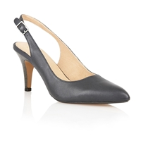 Gloss Sling Back High Heel Shoes Navy