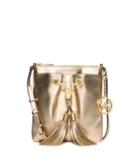 Michael Kors Camden Metallic Leather Crossbody Pale Gold